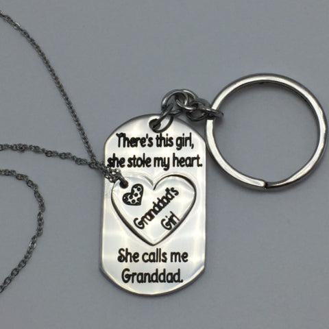 There's this girl, she stole my heart. she calls me granddad/Granddad's girl-Key chain/Heart Necklace