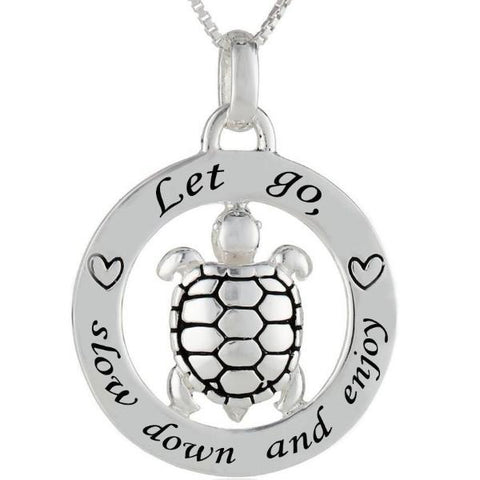 Let go, slow down and enjoy - Sea Turtle Awareness Necklace