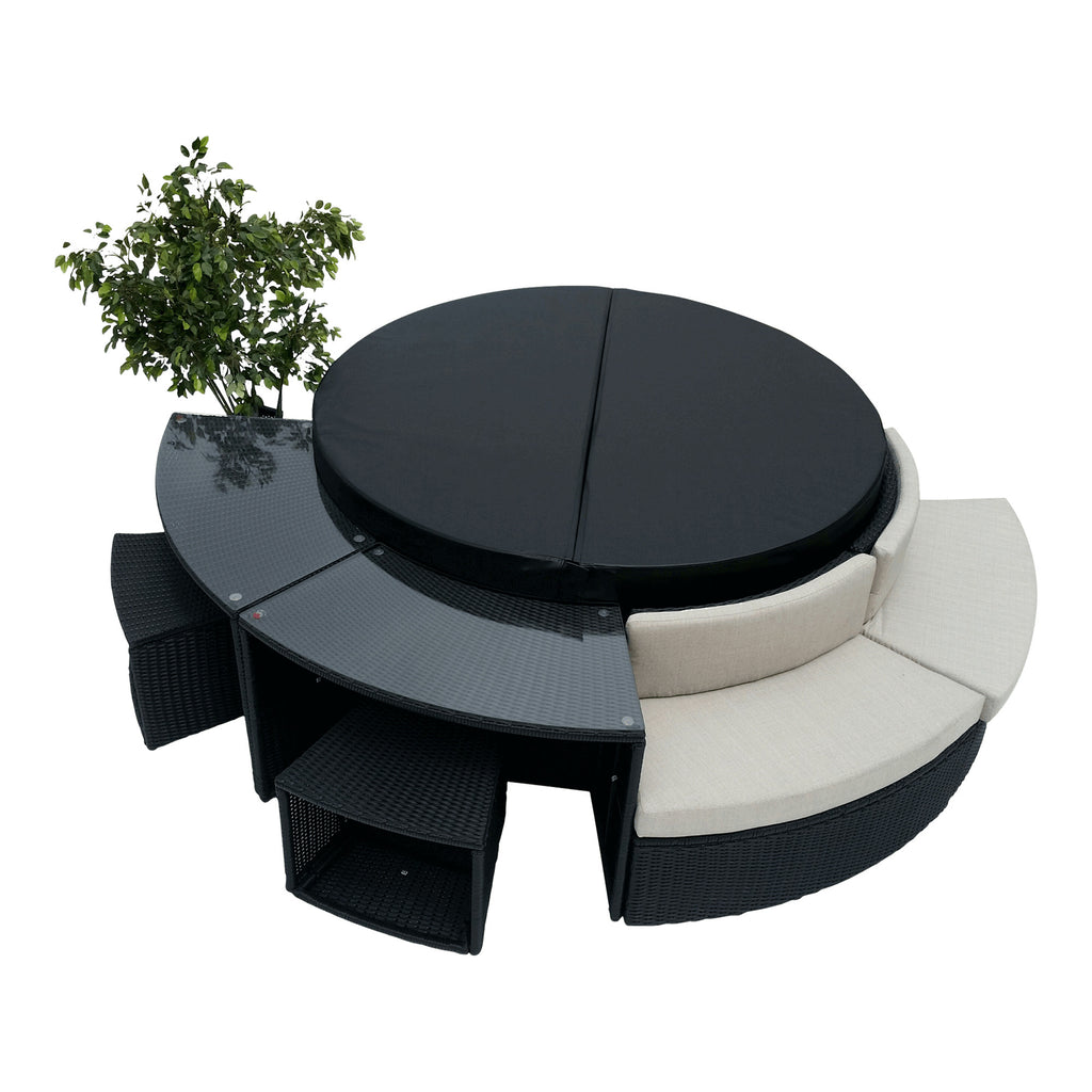 Glass Top Bar - Round Spa Surround Furniture