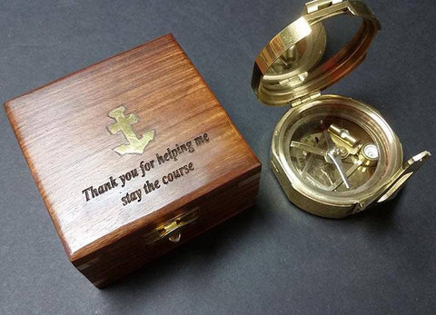 Brass Brunton Compass in a Wooden Case