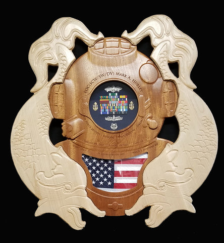 Diver First Class Helmet Shadow Box