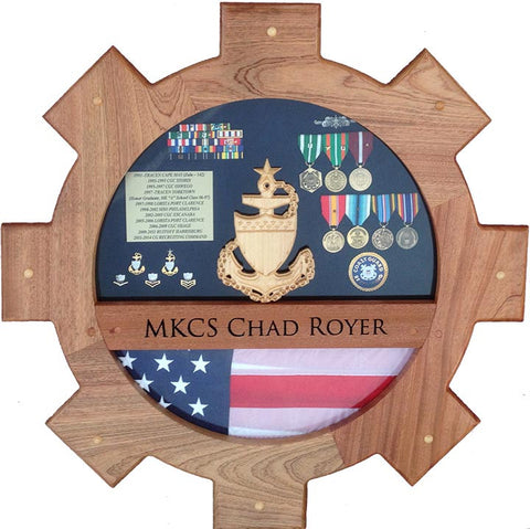 Navy Engineman (EN) and USCG Machinery Technician (MK) Shadow Box