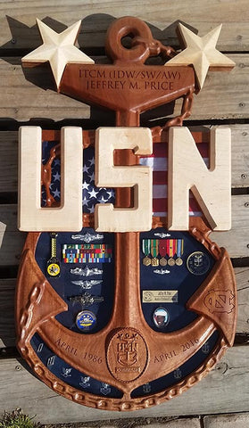 Chief  Senior or Master Chief Anchor Shadow Box