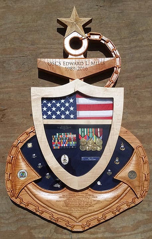 USCG Chief Senior or Master Chief Anchor Shadow Box
