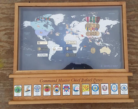 World Traveler Map Shadow Box