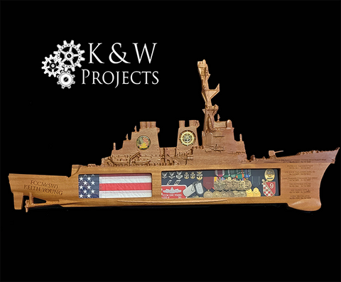 DDG 51 Destroyer Class Ship Shadow Box