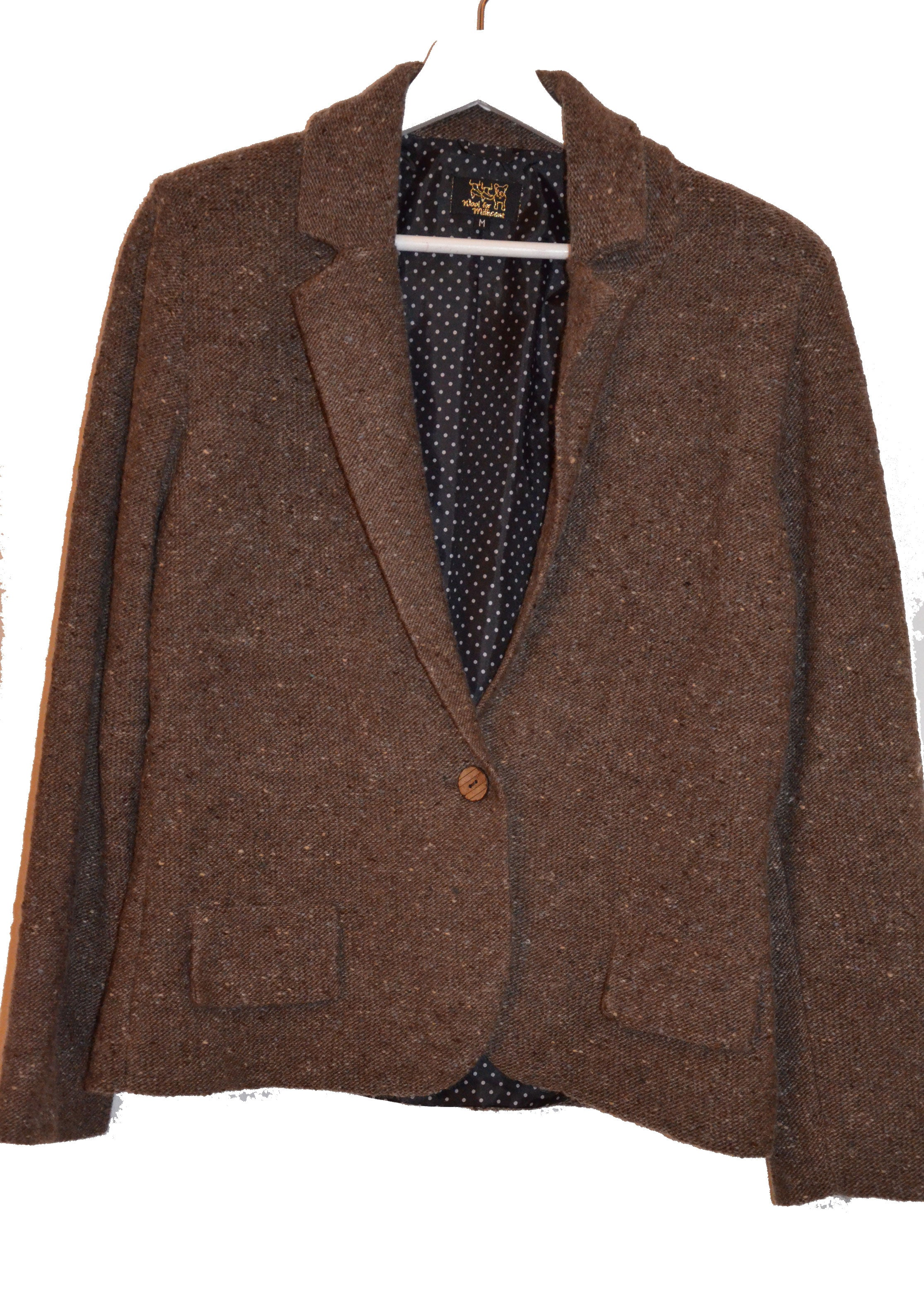 knitted blazer BROWN