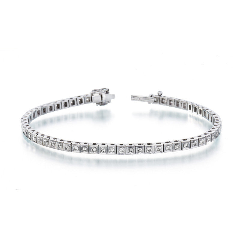 Squares Diamond Tennis Bracelet in 14k White Gold