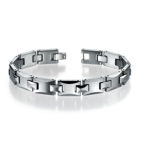 Silver Tungsten Bracelet For Men Link H Style