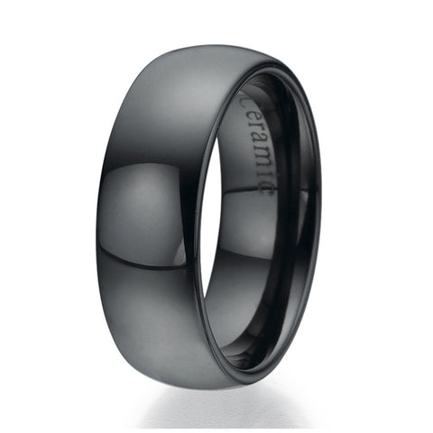 8mm Domed Black Ceramic Ring Sizes 9 to 13