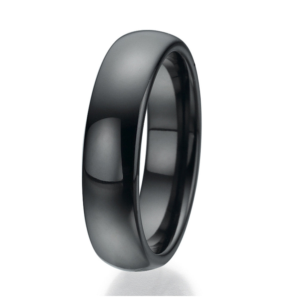 6mm Domed Black Ceramic Ring Sizes 9 to 13