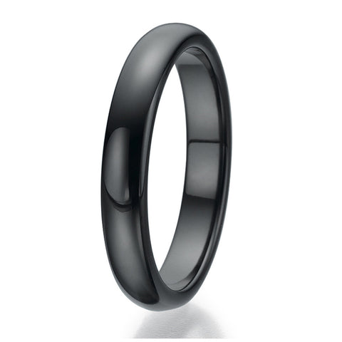 4mm Domed Black Ceramic Ring Sizes 9 to 13