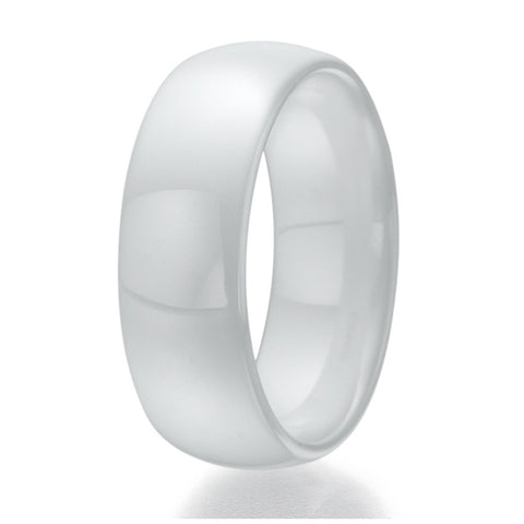 8mm Domed White Ceramic Ring Sizes 9 to 13