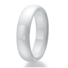 6mm Domed White Ceramic Ring Sizes 9 to 13