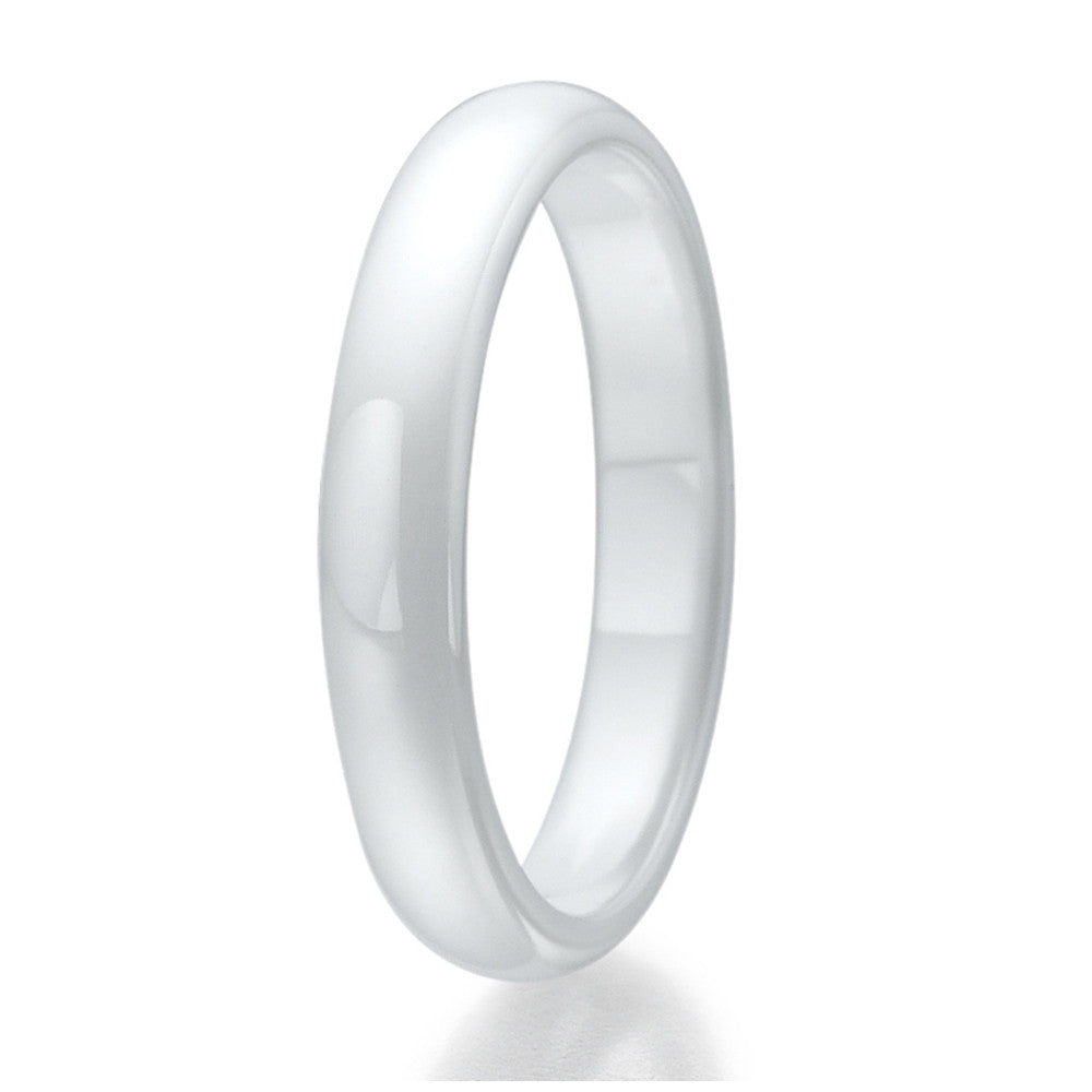 4mm Domed White Ceramic Ring Sizes 9 to 13