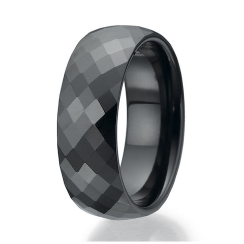 8mm Faceted  design Black Ceramic Ring Sizes 9 to 13
