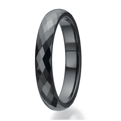 4mm Faceted  design Black Ceramic Ring Sizes 9 to 13