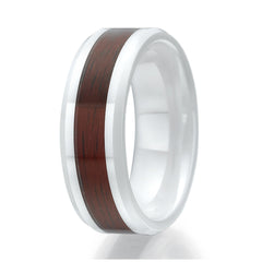 8mm Red Wood Inlay White Ceramic Ring Sizes 9 to 13