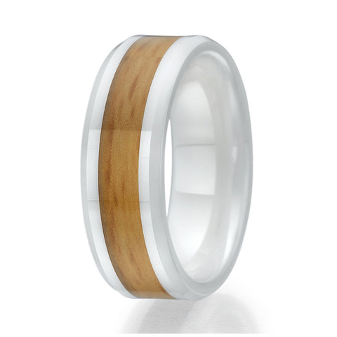 8mm Wood Inlay White Ceramic Ring Sizes 9 to 13