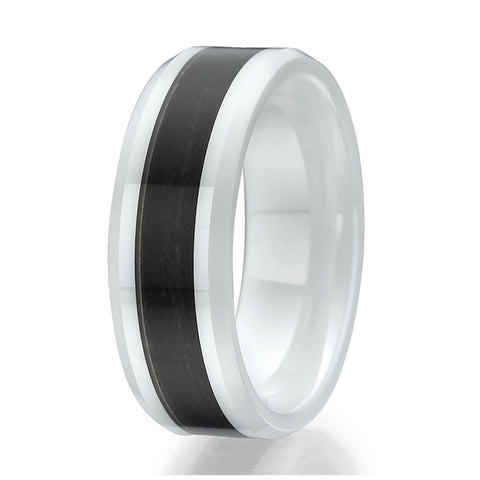 8mm Dark Wood Inlay White Ceramic Ring Sizes 9 to 13