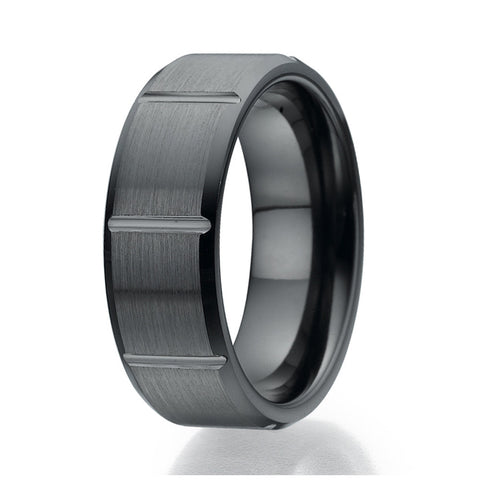 8mm Contemporary Brick Design Black Ceramic Ring Sizes 9 to 13