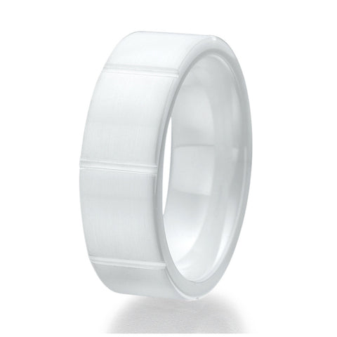 8mm Contemporary Brick Design White Ceramic Ring Sizes 9 to 13