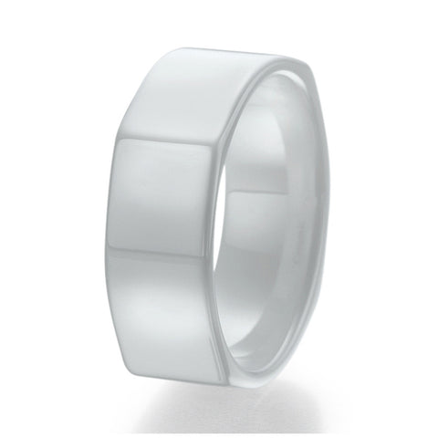 8mm Contemporary Design White Ceramic Ring Sizes 9 to 13