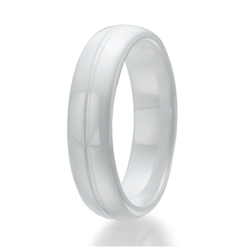 6mm White Ceramic Ring with engraved line Sizes 9 to 13
