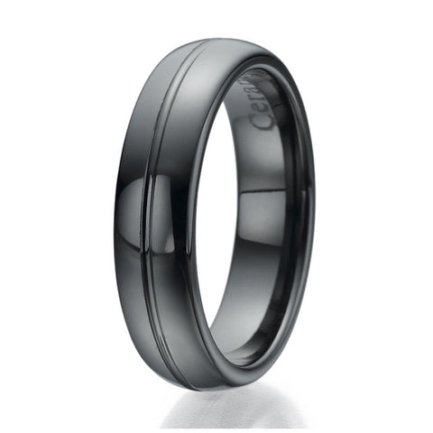 6mm Black Ceramic Ring with engraved line Sizes 9 to 13