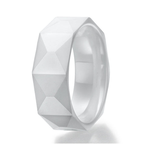 8mm Brick Faceted Design White Ceramic Ring Sizes 9 to 13