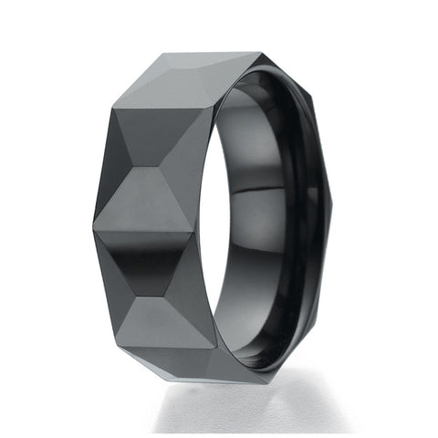 8mm Brick Faceted Design Black Ceramic Ring Sizes 9 to 13