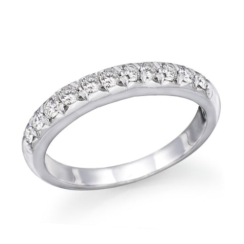 0.5 CTW Swarovski CZ Wedding Band Round Brilliant Cut 14k White Gold