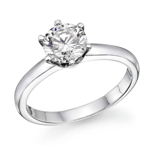 1.0-2.0 CTW Swarovski CZ Engagement ring Round Brilliant Cut 14k White Gold