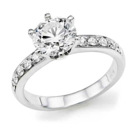1.2-2.2 CTW Swarovski CZ Engagement ring Round Brilliant Cut 14k White Gold