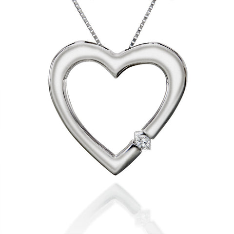 1/20 ctw. Round Diamond Heart Pendant in 14k White Gold
