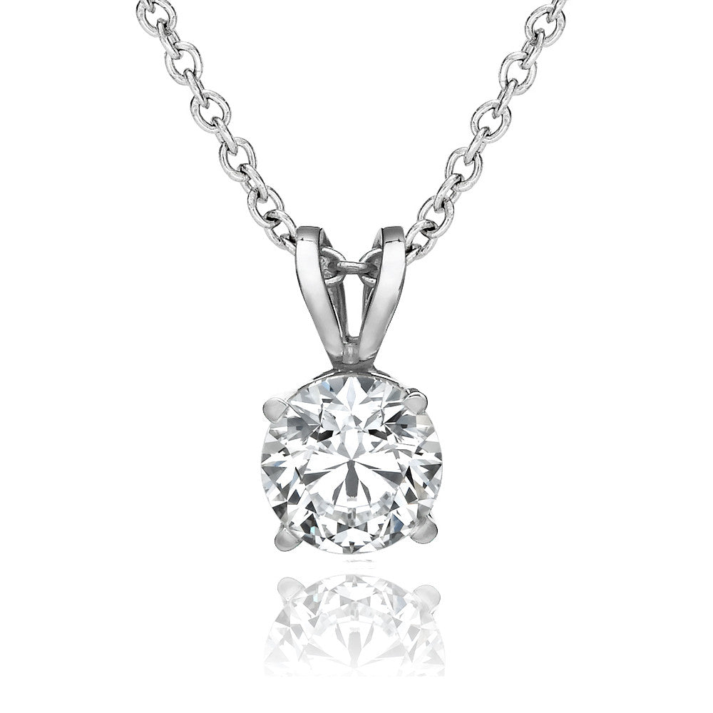 0.25 - 1.0 CT Round Brilliant Swarovski CZ Pendant in 14K White Gold