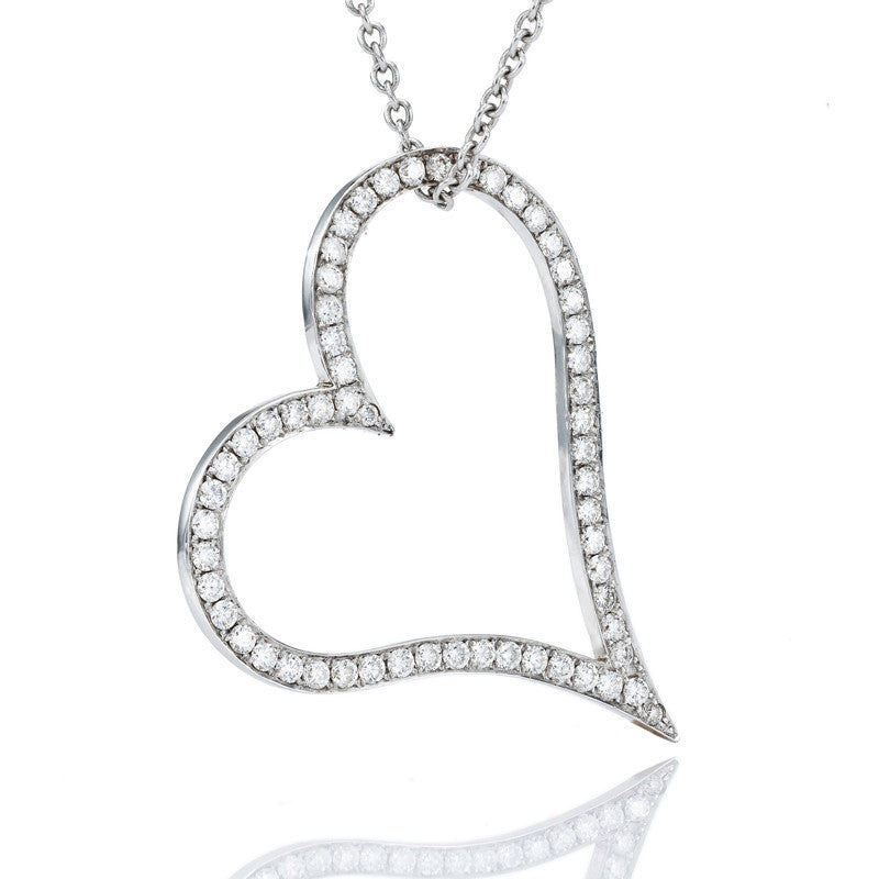 0.5 ctw. Round Diamond Heart Pendant in 14k White Gold