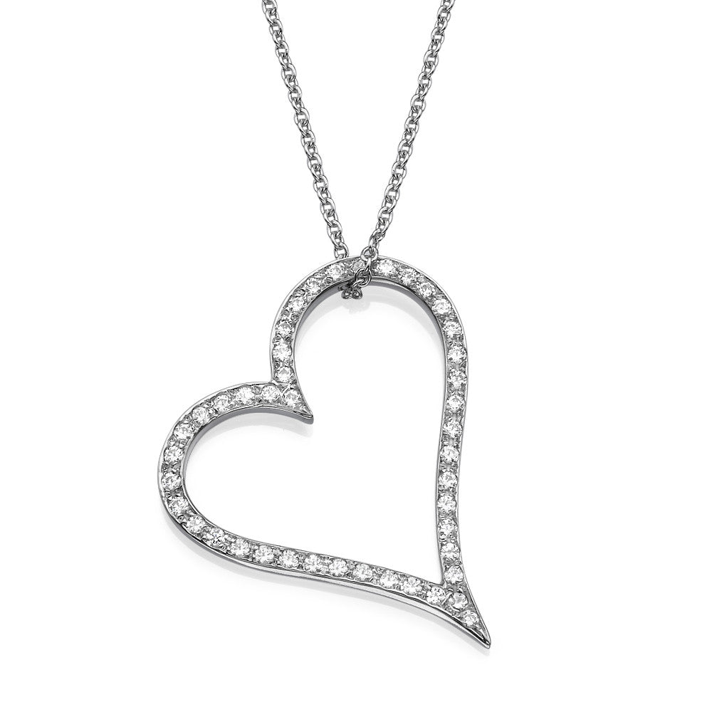 Heart Pendant with Original Swarovski CZ in 14K White Gold With Gold Chain