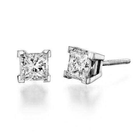 1.0 - 2.0 CTW  Round Brilliant Swarovski Crystal Stud Earrings in 14K White Gold, Screwback