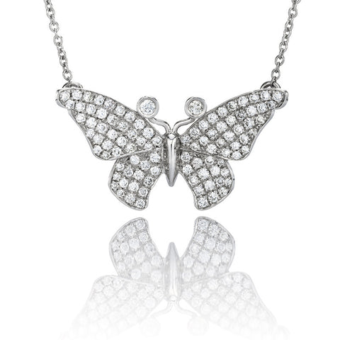 3/4 ct. Round Diamond Butterfly Pendant in 14k White Gold