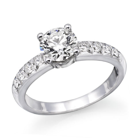 1.4 CTW Swarovski CZ Engagement ring Round Brilliant Cut 14k White Gold