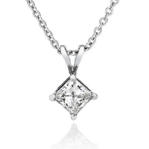 0.5 - 1.0 CT Princess Brilliant cut Swarovski CZ Pendant in 14K White Gold