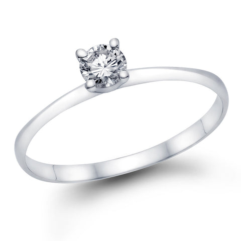1/3ct Round Swarovski CZ Solitaire Engagement Ring in 14k White Gold