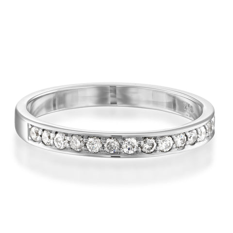 Pave Matching Diamond Stackable Ring, 14k White Gold