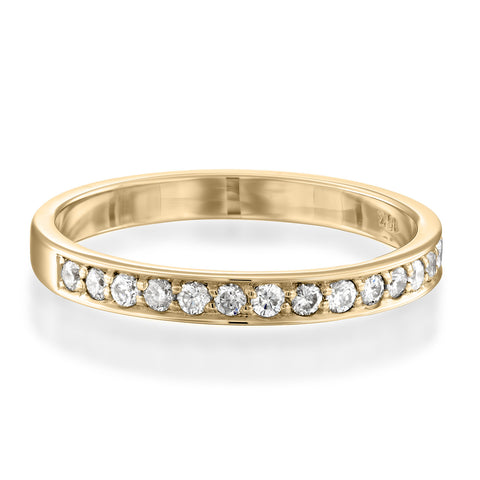 Pave Matching Diamond Stackable Ring, 14k Yellow Gold