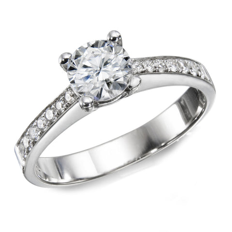 1.2 CTW Swarovski CZ Engagement ring Round Brilliant Cut 14k White Gold
