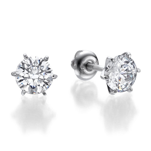 1-2 CTW  Round Brilliant Swarovski CZ Stud Earrings in 14K White Gold, Screwback