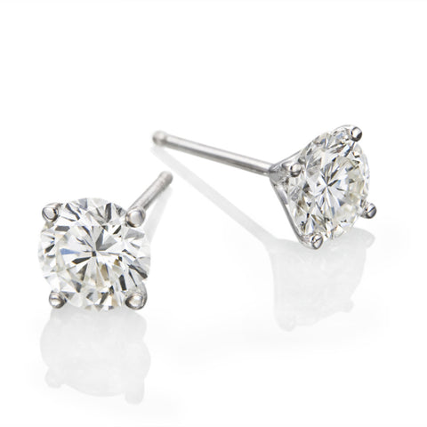 0.5 - 2 CTW  Round Brilliant Swarovski Crystal Stud Earrings in 14K White Gold, Screwback