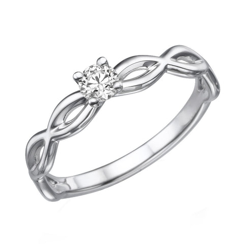 0.1ct Classic Diamond Engagement Ring in 14k White Gold - Brenda