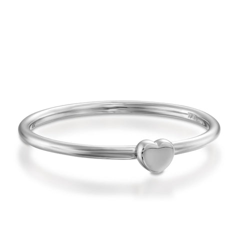 Small Heart Stackable Ring, 14k White Gold
